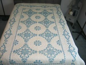 Vintage Embroidered Quilt Bluework Quilt Hand Embroidery Hand Quilted Flowers