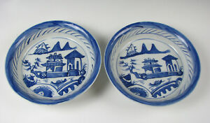 Pair Of Antique Blue White Chinese Export Porcelain Canton Pattern Small Bowls