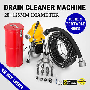 100ft 3 4 Sewer Snake Drain Auger Cleaner Machine Flexible Powerful