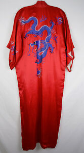 Vintage Chinese Export Red Blue Dragon Robe Moorson Made In China