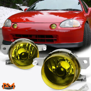 For 93 95 Honda Del Sol Eg Amber Lens Front Bumper Driving Fog Light lamp Pair
