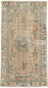 Hand Knotted Turkish Carpet 3 7 X 6 8 Melis Vintage Traditional Wool Rug