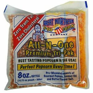 Case Of 24 Premium 8 Oz Popcorn Portion Packs Tri pack For Machine Or Stove Top