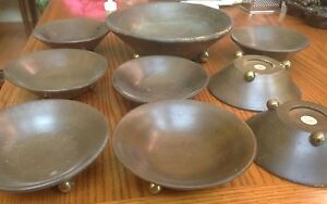 8 Vintage Wood Salad Bowls Serving Bowl Made In Japan Footed Mid Century Used