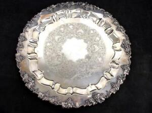 Barbours International Antique 15 Round Silver Platter Grapes Vine 6485 15
