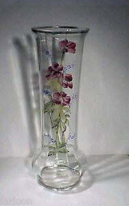 C 1885 Moser Tall Floral Polychrome Enamel Panel Glass Vase