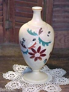 C 1880 Moser Floral Enameled Vase With Acorns In Relief