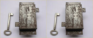 Vintage Lock Box Double Side Deadbolt Latch Barrel Key 1 3 4 X 4