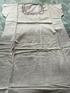 Beautiful Vintage Hand Woven And Hand Embroidered Cotton Nightgown