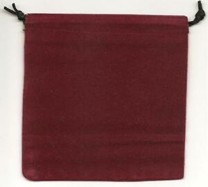 Jewelry Pouches Velour velvet Type Pouch lot Of 5 Burgundy Color size 5 1 4 Sq