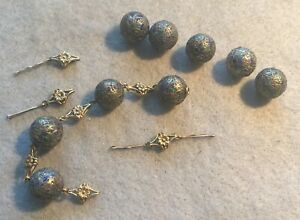 Lot Of Antique Chinese Pure Silver Enamel Beads 18k Gold Art Nouveau Findings