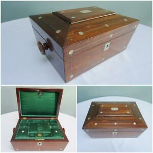 Antique Sewing Box Work Rosewood Mop Inlaid Fitted Tray Victorian C1860