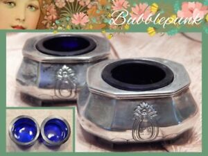 Antique Sterling Silver Open Salt Cellar Set 2 Cobalt Glass Liners 86 8g
