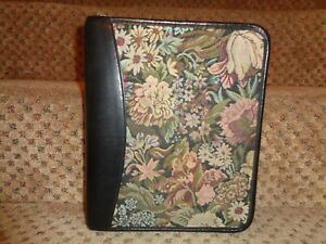 Franklin Quest Covey Usa Tapestry Black Leather Classic Zipper Close Planner