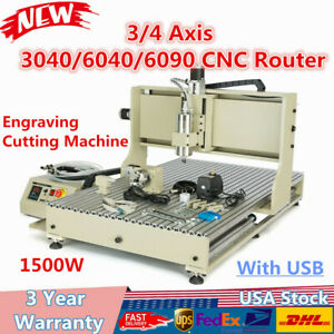 3 4 Axis Cnc Router 3040 6040 6090cutting Machine Engraving 1 5kw Usb Desktop Us