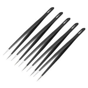 Esd Anti static Stainless Steel Tweezers Straight Pointed 5 6 Inch Length 5pcs