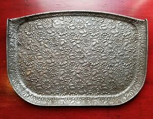Antique Victorian Era Flower Embossed Metal High Chair Tray Cover Vintage