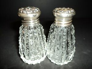 Vintage Cut Crystal And Sterling Silver Salt And Pepper Shakers