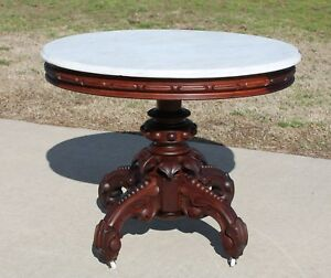 Victorian Walnut Oval Marble Top Center Parlor Lamp Table Attr Thomas Brooks