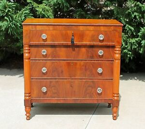 American Empire Cherry Flamed Mahogany Chest Glass Pulls W Key C1830