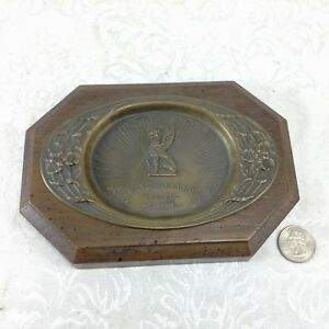 Rathskeller Seattle Antique Griffon Tip Tray Brass Figural Animal Advertising