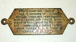Antique 1871 Brass Funeral Casket Plaque Victorian Era 3 1 2 X 9 3 8