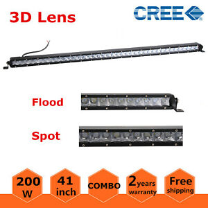 4d 41inch 200w Led Slim Single Row Light Bar Spot Offroad Truck Ford Suv 40 44