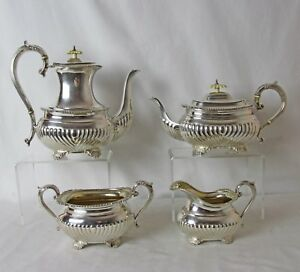 Silver Plated 4 Pc Tea Coffee Set Vintage Birks Regency Plate Great Condition
