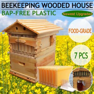 7 Pcs Auto Honey Bee Hive Flow Frames Beekeeping Wooden Super Brood Box House