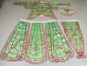 Chinese Old Hand Embroidery Silk Costume Jacket Skirt Shawl Apron One Set