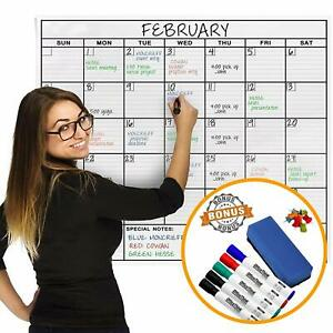 Jumbo Dry Erase Laminated Wall Calendar Huge 24 inch By 36 inch Size Monthly