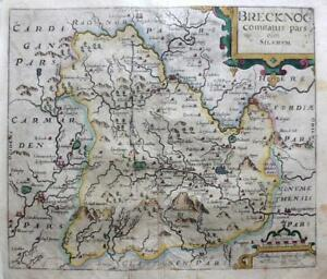 Wales Brecknocshire C1637 By Saxton Kip Genuine Engraved Antique Map