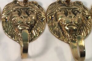Vintage Pair Of Solid Brass Lion S Head Coat Hat Hooks