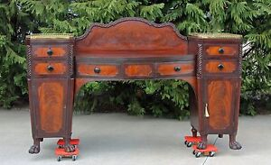 Flamed Mahogany Empire Bow Front Sideboard With Brass Galleries Paw Feet C1830