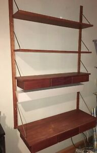 Mid Century Dutch Wall Shelving And Desk