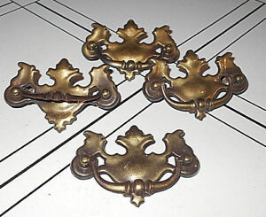 4 Ant Vtg Brass Finish Chippendale Batwing Drawer Drop Down Bail Handles Pb