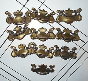 10 Ant Chippendale Brass Batwing Drawer Drop Down Bail Handles Pb