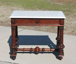 Walnut Victorian Marble Top Library Table Desk Foyer Table With Drawer C1870 S