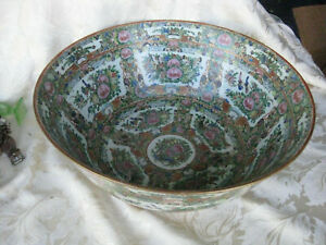 Outstanding Chinese Famille Rose With Butterflies 15 3 4 Punch Bowl Mint