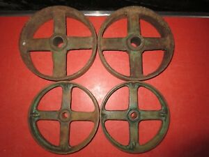 Vtg Cast Iron Wheel Cart Caster Industrial Steampunk Table Hit Miss Engine 7 8