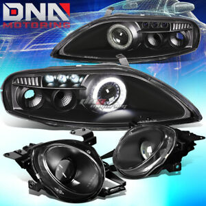 For 92 00 Z30 Sc300 sc400 Black Halo Ring Projector led Drl high Beam Headlight