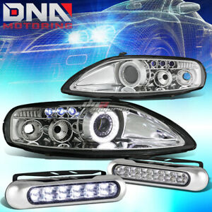 Chrome Halo Projector Headlight 12 Led Grill Drl Lamp Fit 92 00 Z30 Sc300 sc400