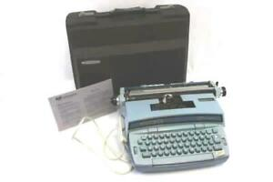 Smith Corona Coronet Super 12 Blue Electric Typewriter Working With Case Vintage