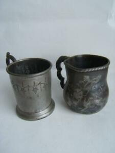 2 Antique Baby Cups Engraved Nellie Lizzie