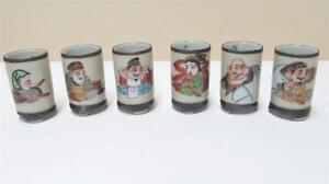 6 Antique Japanese Kutani Hand Painted Gods Of Good Fortune Sake Cups