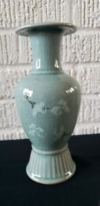 Green Celadon Pottery Crackle Glazed Flying Crane Korean Vase Artist Signed