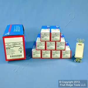 10 Leviton Almond Decora Lighted Commercial 1 pole Rocker Light Switches 5631 2a