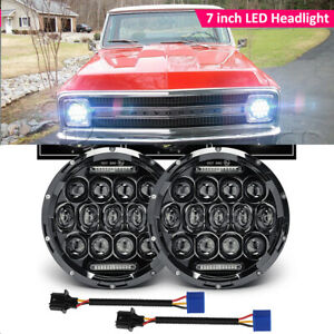 Dot 7 Inch Led Headlight Hi Lo For Chevy Chevelle Camaro C10 K10 G10 20 Pickup