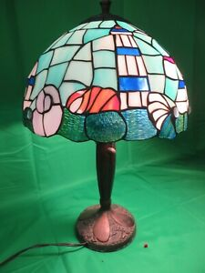 Vintage Leaded Glass Lighthouse Lamp W Copper Base