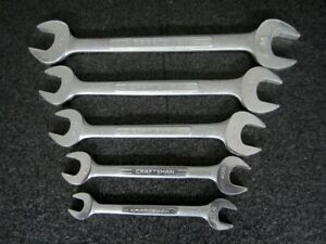Vintage Craftsman V Series Sae Double Open End Wrench Set 5 Pc Made In Usa